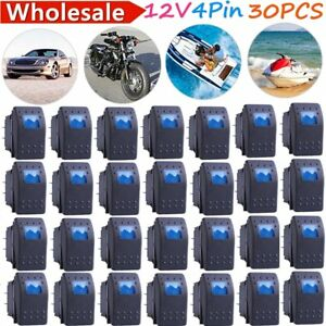 30pack Waterproof Marine Boat Car Rocker Switch 12v Spst On off 4pin 4p Blue Led