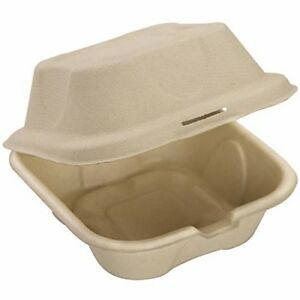 Biodegradable 6x6 Take Out Food Containers With Clamshell Hinged Lid 100 Pack M