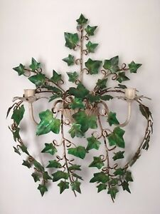 Vintage Italian Toleware Ivy Wall Candle Sconce Large