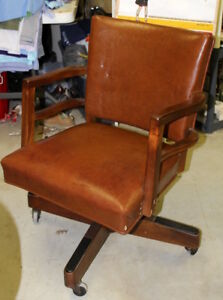 Executive Office Chair Baker Wood Leather Brown Tacks Vintage Ac348