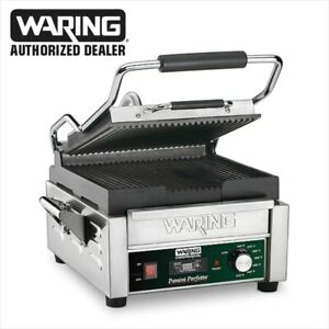 Waring Wpg150t 9 75in X 9 25in Ribbed Sandwich Panini Grill W Timer 120v