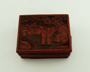 Beautiful Cinnabar Red Qing Dynasty Hand Carved Lacquerware Box