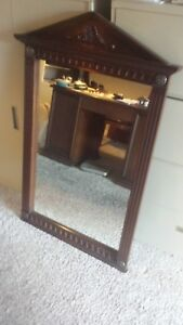 Vintage Drexel 1960s Carved Mahogany Wood 53 Tall Wall Mirror