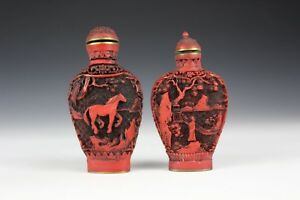 Two Cinnabar Snuff Bottles With Qianlong Reign Marks