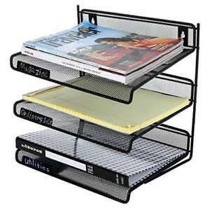 Mygift 3 Tier Letter size Document Tray Desktop File Organizer Shelf Black