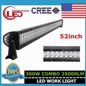 52 Inch 300w Cree Led Light Bar Combo Offroad 4x4wd Fog Lamp Ute Boat 4d Optical