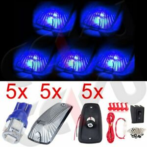 5pcs Cab Roof Marker Light Smoke Lens Wiring Kit Blue Led For Gmc Chevy C K