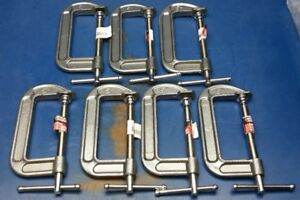 Lot Of 7 Lincoln Electric Kh907 Steel C clamp 5 Jaw Width Gray