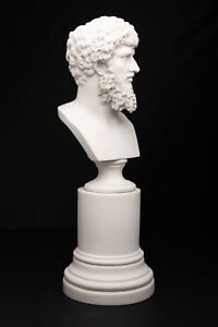 Marble Bust Of Roman Emperor Lucias Verus On A Large Base Classical Sculpture