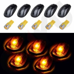 5x Smoke Cab Roof Marker Running Light W Warm White Led For 2003 2016 Dodge Ram