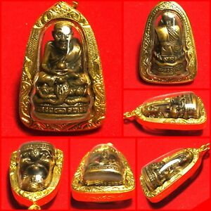 Phra Lp Tuad Thuad Statue Wat Chang Hai Thai Amulet Buddha Gold Case Necklace