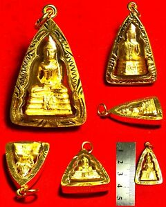 Mini Phra Somdej Lp Sothon Statue Thai Amulet Buddha Talisman Gold Case Necklace