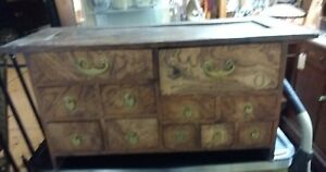 Antique Vintage Japanese Tansu Small Chest Burled Wood Secret Locks 11 Drawers