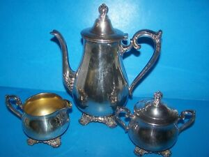Vintage Wm Rogers Son Victoria Rose 1901 3 Pc Set Tea Pot Sugar Creamer