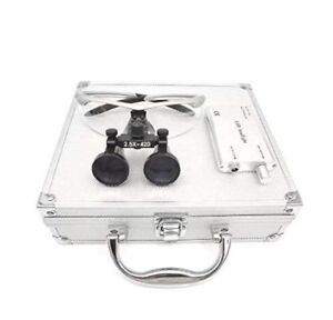 Dental Surgical 2 5x420mm Binocular Loupes Silver Led Headlight Aluminum Box