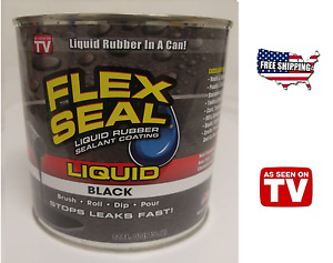 Flex Seal Liquid Rubber Sealant Black 32oz As Seen On Tv Brush Roll Dip Pour