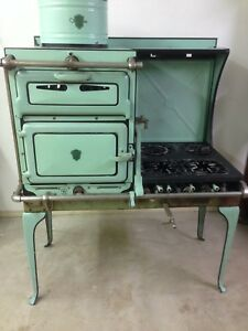Antique Gas Stove 1920 S Chambers With Thermodome Mint Green Rare Vintage Beauty