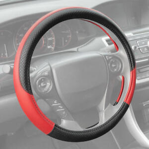 Motor Trend Textured Pu Leather Steering Wheel Cover For Car Suv Vans Black Red