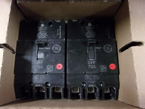 Ge Tey370 3 Pole 70 Amp 480 Volt Circuit Breakers New In Box Qty 2