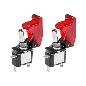 2x Red Cover Led Toggle Switch Racing Spst On Off 20a Atv 12v New For Car Truck