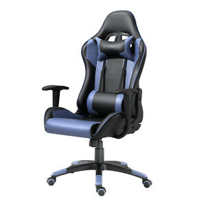Samincom Racing Chair High back With Headrest And Lumbar Support blue pu Leather