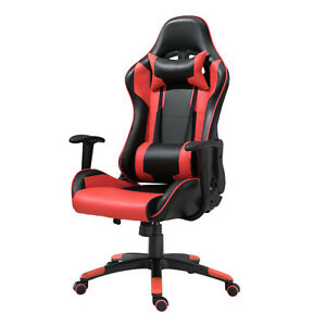 Samincom Racing Chair High back With Headrest And Lumbar Support red pu Leather
