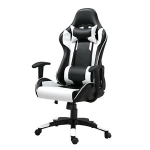 Samincom Racing Chair High back With Headrest And Lumbar Support white Pu