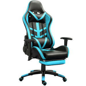 Samincom Racing Style Chair With Headrest lumbar Support And Foot Pad blue Pu