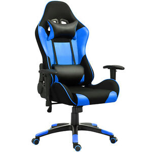 Samincom Racing Chair With Headrest lumbar Support pu With Mesh Polyester Blue