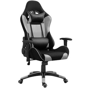 Samincom Racing Chair With Headrest lumbar Support pu With Mesh Polyester Gray