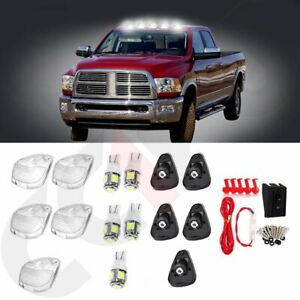 5pcs Clear Cab Marker Roof Light Covers W White Led wiring For Ford Super Duty