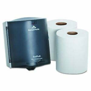 Paper Towel Dispenser Translucent Smoke Sofpull 2 Rolls Paper Towers Free New