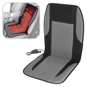 Padded Heated Car Seat Cushion Thermal Cover Adjustable Temperature Gray