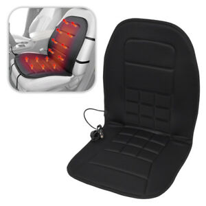 Heated Car Seat Warmer 12v Padded Thermal Cushioned Cover In Soft Velour Gray
