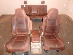 99 07 Ford F250 F350 Front Seat Brown Leather King Ranch Front Rear Console Oem