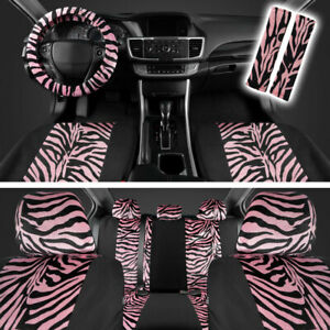 Zebra Animal Print Full Seat Cover Set Fits Car Truck Van Suv 12 Pc Pink Black