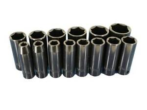 Temo 14pc 1 2 Drive Deep Impact Socket Set Inch Cr v 6 point 3 8 1 1 4
