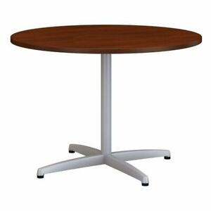 Bush Business 42 Round Metal Base Conference Table In Hansen Cherry