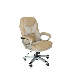 Serta Works Executive Office Chair In Mesh Two Tone Cream And Beige