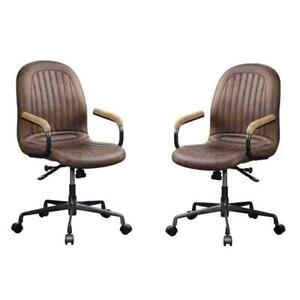 set Of 2 Industrial Executive Office Chair In Chocolate Leather