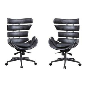 set Of 2 Executive Office Chair In Black Top Grain Leather