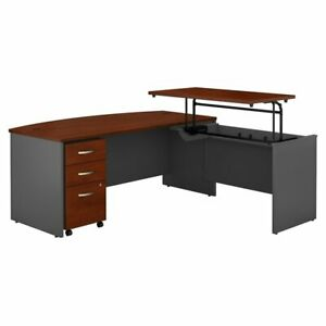 Series C Bow Front Sit To Stand L Shaped Desk Office Set hansen Cherry