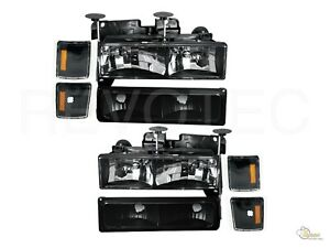94 98 Chevy Ck Silverado Tahoe Suburban Black Headlights Bumper Corner Lights