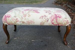 Vintage Overstuffed Upholstered French Provincial Window Seat Vanity Bench Stool