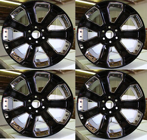 22 2018 Tahoe Silverado Ltz Silver Black Chrome Factory Wheels New 84340647