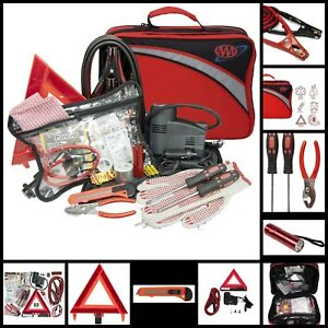 76 Piece Roadside Emergency Kit With Car Air Compressor Jumper Cables First Aid