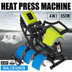 4 In 1 Heat Press Machine Cap Hat Heat Transfer 4 Printing Size Sublimation