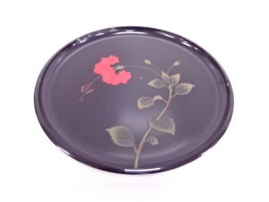 3954504 Japanese Lacquer Ware Round Tray Ryukyu Lacquer Hibiscus