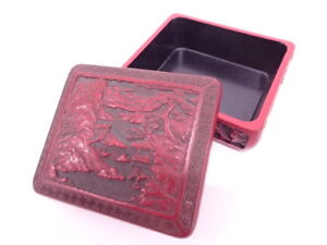 3954345 Japanese Lacquer Ware Lacquered Container Carved Motif