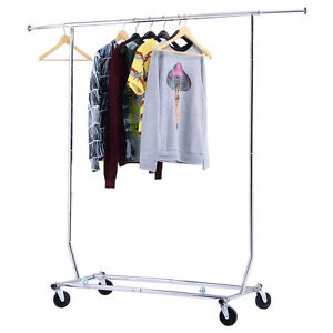 250lbs Rolling Commercial Heavy Duty Garment Rack Clothing Collapsible Chrome